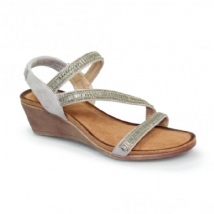 Lunar Womens Sofia Cross Strap Grey Sandal